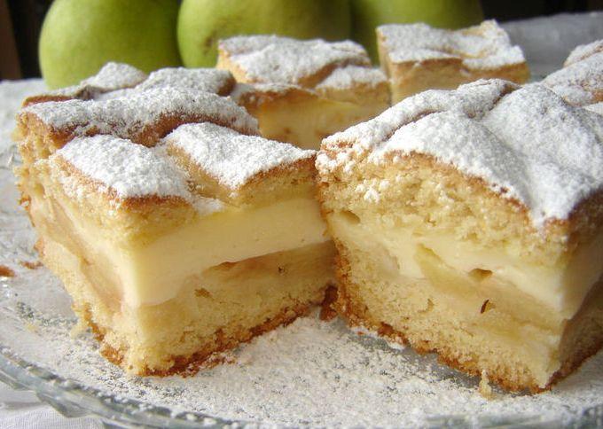 Песочный торт с яблочным кремом