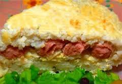 Рисовая запеканка с сосисками — сытный завтрак