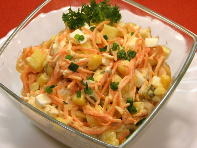 Салаты с корейской морковки с курицей