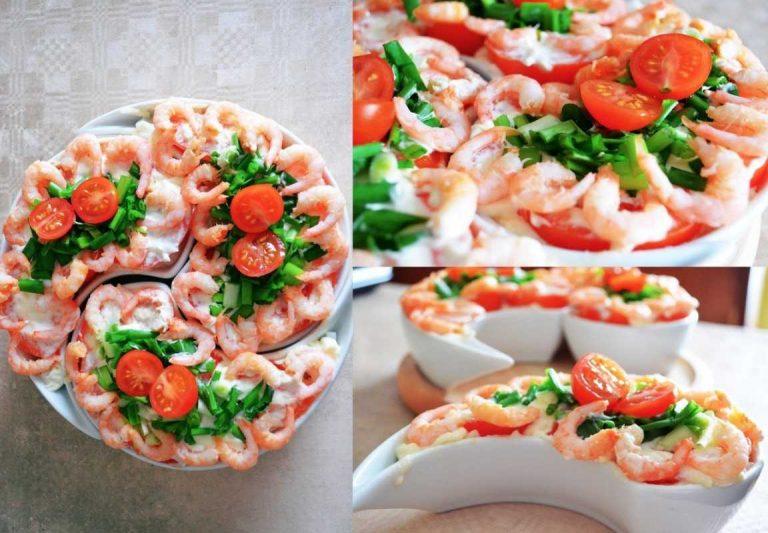 Салат из кальмаров и красной икры