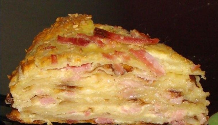 Закуска «Сырный торт с ветчиной»