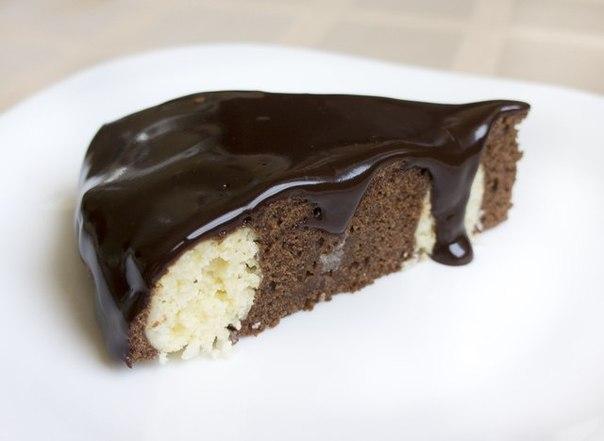 Шоколадно — творожный мягкий пирог