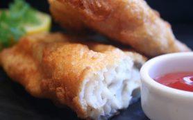 Рыбное филе в кляре с рисом