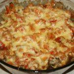 Куриная печень с помидорами по-милански