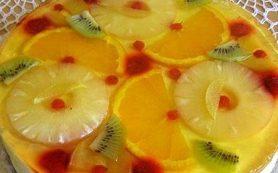 Желейный торт с фруктами и творогом
