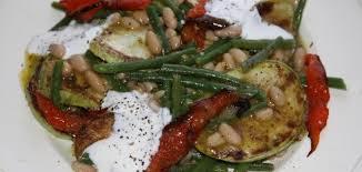 Теплый салат из кабачков с фасолью