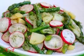 Картофельный салат с редиской и спаржей