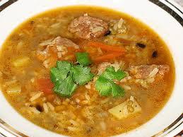 Хурда (узбекский суп с рисом и овощами)