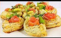 Вкусная закуска «Слоеные лодочки с семгой»
