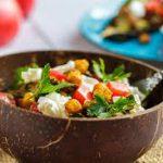 Салат с печёным баклажаном, нутом и козьим сыром