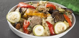 Цесарка с кус-кусом и овощами