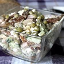 Салат из шампиньонов с горошком