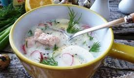 Овощная окрошка с тунцом