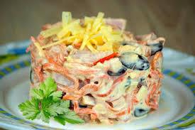 Салат с ветчиной, фасолью и морковью по-корейски