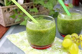 Зелёный смузи с виноградом и огурцом