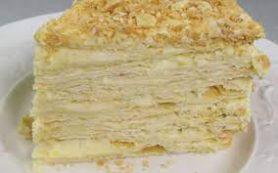 Торт Наполеон с творожными коржами и заварным кремом