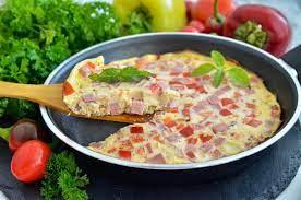 Омлет с колбасой, сыром и грибами