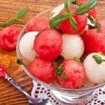 Десерт из арбуза и дыни